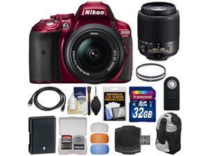 Nikon D5300 Digital SLR Camera & 18-55mm G DX II AF-S Zoom (Red) with 55-200mm DX AF-S Lens + 32GB Card + Battery + Backpack + Filters Kit