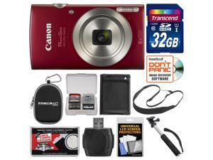 Canon PowerShot Elph 180 Digital Camera (Red) with 32GB Card + Case + Battery + Selfie Stick + Sling Strap + Kit