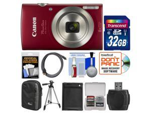 Canon PowerShot Elph 180 Digital Camera (Red) with 32GB Card + Case + Battery + Tripod + HDMI Cable + Kit