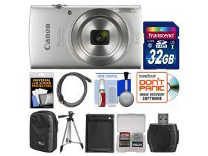 Canon PowerShot Elph 180 Digital Camera (Silver) with 32GB Card + Case + Battery + Tripod + HDMI Cable + Kit