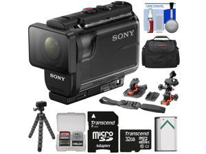 Sony Action Cam HDR-AS50 Wi-Fi HD Video Camera Camcorder with 32GB Card + Battery + Case + Flex Tripod + Flat Surface & 2 Helmet Mounts + Kit