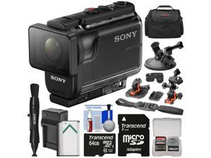 Sony Action Cam HDR-AS50 Wi-Fi HD Video Camera Camcorder with 64GB Card + Battery & Charger + Case + 2 Helmet & Suction Cup Mounts + Kit