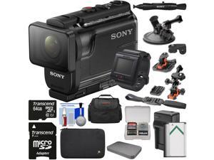 Sony Action Cam HDR-AS50R Wi-Fi HD Video Camera Camcorder & Live View Remote + 64GB Card + Battery/Charger + Cases + 2 Helmet & Suction Cup Mounts Kit
