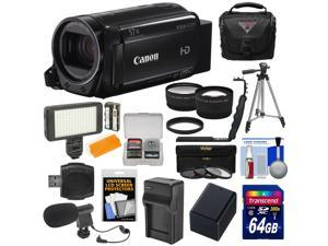 Canon Vixia HF R70 16GB Wi-Fi 1080p HD Video Camcorder + 64GB Card + Battery & Charger + Case + Tripod + LED Light + Microphone + Tele/Wide Lens Kit