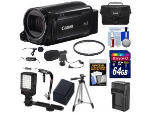 Canon Vixia HF R72 32GB Wi-Fi 1080p HD Video Camcorder with 64GB Card + Battery & Charger + Case + Tripod + Stabilizer + LED Light + 2 Microphones Kit