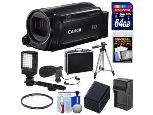 Canon Vixia HF R700 1080p HD Video Camcorder (Black) with 64GB Card + Battery & Charger + Hard Case + Tripod + LED Light + Microphone + Kit