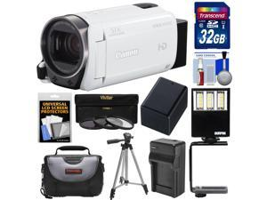 Canon Vixia HF R700 1080p HD Video Camcorder (White) with 32GB Card + Battery & Charger + Case + Tripod + 3 Filters + LED Light + Kit
