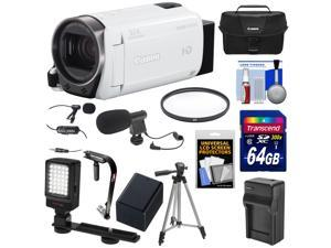 Canon Vixia HF R700 1080p HD Video Camcorder (White) with 64GB Card + Battery & Charger + Case + Tripod + Stabilizer + LED Light + Microphones Kit