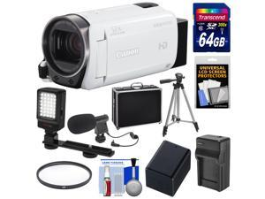 Canon Vixia HF R700 1080p HD Video Camcorder (White) with 64GB Card + Battery & Charger + Hard Case + Tripod + LED Light + Microphone + Kit