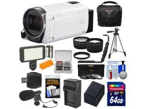 Canon Vixia HF R700 1080p HD Video Camcorder (White) with 64GB Card + Battery & Charger + Case + Tripod + LED Light + Microphone + Tele/Wide Lens Kit