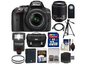 Nikon D5300 Digital SLR Camera & 18-55mm G VR DX II Zoom (Black) + 55-200mm DX AF-S Lens + 32GB Card + Battery + Case + Tripod + Flash + Filters Kit