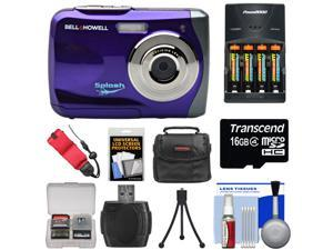 Bell & Howell Splash WP7 Waterproof Digital Camera (Purple) with Batteries & Charger + 16GB Card + Case + Kit