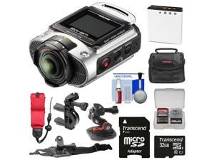 Ricoh WG-M2 Wi-Fi 4K Ultra HD Video Action Camera Camcorder (Silver) with Handlebar Bike, Helmet, & Arm Mounts + 32GB + Battery + Case + Strap Kit