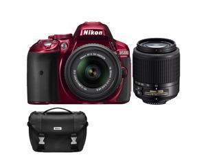 Nikon D5300 Digital SLR Camera & 18-55mm G VR DX II AF-S Zoom (Red) with 55-200mm G DX AF-S ED Lens + Case