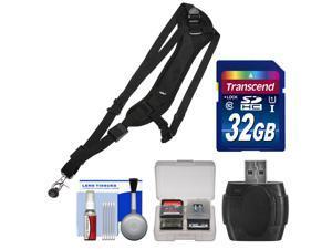Vivitar SLING1 Padded Sling Digital SLR Camera Strap with 32GB Card + Reader + Kit