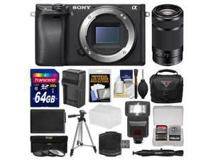 Sony Alpha A6300 4K Wi-Fi Digital Camera Body with 55-210mm Lens + 64GB Card + Case + Flash + Battery/Charger + Filters + Kit