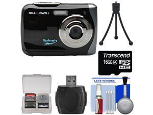 Bell & Howell Splash WP7 Waterproof Digital Camera (Black) with 16GB Card + Tripod + Kit