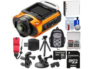 Ricoh WG-M2 Wi-Fi 4K Ultra HD Video Action Camera Camcorder (Orange) with Bike & Suction Cup Mounts + 32GB + Battery + Backpack + Strap + Tripod + Kit