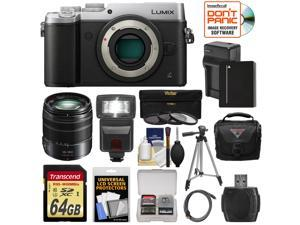 Panasonic Lumix DMC-GX8 4K Wi-Fi Digital Camera Body (Silver) with 14-140mm Power OIS Lens + 64GB Card + Battery & Charger + Case + Flash + Tripod Kit
