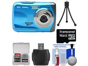 Bell & Howell Splash WP7 Waterproof Digital Camera (Blue) with 16GB Card + Tripod + Kit