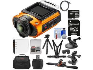 Ricoh WG-M2 Wi-Fi 4K Ultra HD Video Action Camera Camcorder (Orange) + Bike, Helmet, Suction Cup, & Chest Mounts + 32GB + Battery + Case + Tripod Kit