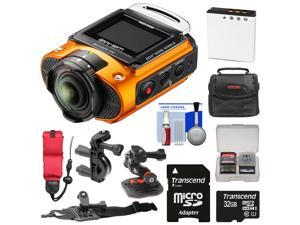 Ricoh WG-M2 Wi-Fi 4K Ultra HD Video Action Camera Camcorder (Orange) with Handlebar Bike, Helmet, & Arm Mounts + 32GB + Battery + Case + Strap Kit