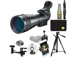 Nikon 20-60x82mm Prostaff 5 Angled Body Fieldscope Spotting Scope with Eyepiece + Tripod + Clamp Mount + Smartphone Adapter + Cleaning Kit