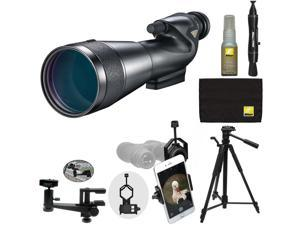 Nikon 20-60x82mm Prostaff 5 Straight Body Fieldscope Spotting Scope with Eyepiece + Tripod + Clamp Mount + Smartphone Adapter + Cleaning Kit
