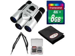 Vivitar 10x25 Binoculars with Built-in Digital Camera with 8GB Card + Harness Strap + FogKlear Cleaning Cloth + Kit