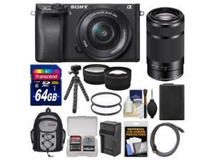 Sony Alpha A6300 4K Wi-Fi Digital Camera & 16-50mm with 55-210mm Lens + 64GB Card + Case + Battery & Charger + Flex Tripod + Filters + Kit