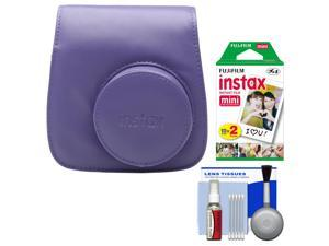 Fujifilm Groovy Camera Case for Instax Mini 8 (Grape) with 20 Twin Prints + Cleaning Kit