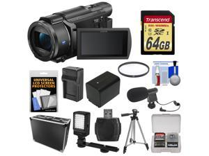 Sony Handycam FDR-AX53 Wi-Fi 4K Ultra HD Video Camera Camcorder with 64GB Card + Battery & Charger + Hard Case + Tripod + LED Light + Microphone + Kit