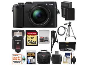 Panasonic Lumix DMC-GX8 4K Wi-Fi Digital Camera Body (Black) with 12-60mm Lens + 64GB Card + Battery & Charger + Case + Filters + Tripod + Flash + Kit