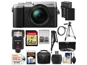 Panasonic Lumix DMC-GX8 4K Wi-Fi Digital Camera Body (Silver) with 12-60mm Lens + 64GB Card + Battery & Charger + Case + Filters + Tripod + Flash + Kit