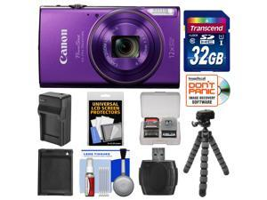 Canon PowerShot Elph 360 HS Wi-Fi Digital Camera (Purple) with 32GB Card + Battery & Charger + Flex Tripod + Kit