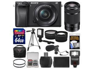 Sony Alpha A6300 4K Wi-Fi Digital Camera & 16-50mm Lens with 55-210mm Lens + 64GB Card + Case + Flash + Video Light + Mic + Battery + Tripod + Kit