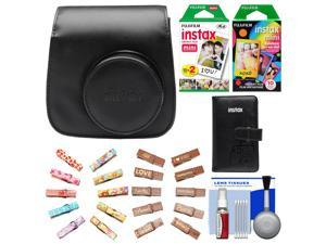 Fujifilm Groovy Camera Case for Instax Mini 8 (Black) with Mini Wallet + 20 Twin Color & 10 Rainbow Prints + Wood Peg Clips + Cleaning Kit
