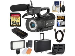 JVC GY-LS300CHU Ultra 4K HD 4KCAM Super 35 Pro Camcorder & Mic Top Handle Audio Unit with 64GB Card + Hard Case + LED Video Light + HDMI Cable + Kit