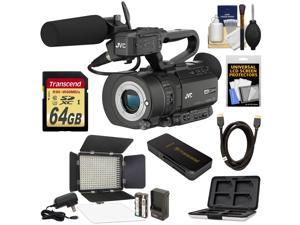 JVC GY-LS300CHU Ultra 4K HD 4KCAM Super 35 Pro Camcorder & Mic Top Handle Audio Unit with 64GB Card + Studio LED Video Light + HDMI Cable + Kit