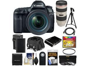 Canon EOS 5D Mark IV 4K Wi-Fi Digital SLR Camera & 24-70mm f/4L IS USM + 70-200mm f/2.8L Lens + 64GB Card + Battery & Charger + Case + Filters + Tripod Kit
