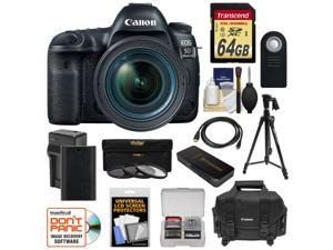 Canon EOS 5D Mark IV 4K Wi-Fi Digital SLR Camera & EF 24-70mm f/4L IS USM Lens with 64GB SD Card + Battery & Charger + Case + 3 Filters + Tripod + Kit