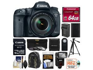 Canon EOS 7D Mark II Digital SLR Camera & 18-135mm IS USM Lens & Wi-Fi Adapter + 64GB Card + Backpack + Flash + Battery/Charger + Tripod + Filters Kit