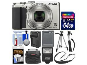 Nikon Coolpix A900 4K Wi-Fi Digital Camera (Silver) with 64GB Card + Case + Flash + Battery & Charger + Tripod + Selfie Stick + Kit