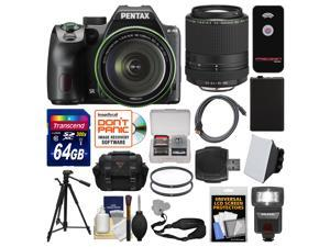 Pentax K-70 All Weather Wi-Fi Digital Camera & 18-135mm WR Lens (Black) with 55-300mm Lens + 64GB Card + Case + Flash + Battery + Tripod + Kit