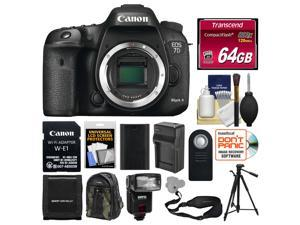 Canon EOS 7D Mark II Digital SLR Camera Body & Wi-Fi Adapter with 64GB Card + Backpack + Flash + Battery & Charger + Tripod + Sling Strap + Remote Kit