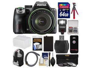 Pentax K-70 All Weather Wi-Fi Digital Camera & 18-135mm WR Lens (Black) with 64GB Card + Backpack + Flash + Battery + Tripod + Filters + Remote + Kit
