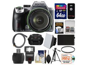 Pentax K-70 All Weather Wi-Fi Digital Camera & 18-135mm WR Lens (Silver) with 64GB Card + Case + Flash + Battery + Tripod + Filter + Kit