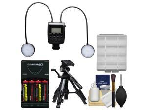 Vivitar DR-8000 Macro 24 LED Ring Light Flash with Close-up Tripod + Batteries & Charger + Kit
