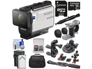 Sony Action Cam HDR-AS300 Wi-Fi HD Video Camera Camcorder with Finger Grip + Suction Cup + Helmet Mount + 64GB Card + Battery & Charger + Case + Kit