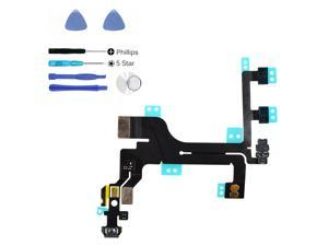 Apple iPhone 5C Power On/Off Control Switch Vibrate Volume Button Flex Cable Replacement Parts + Repair Tools Kit